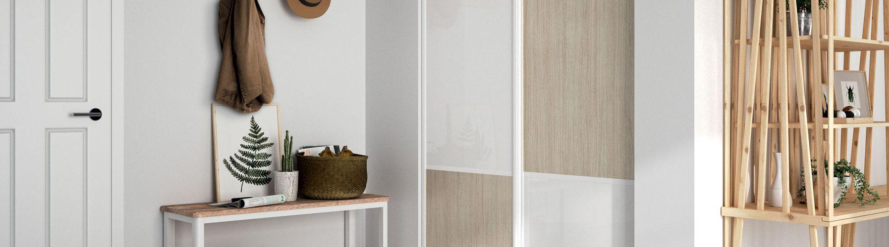 fa ade de placard kazed blanche et bois kazed. Black Bedroom Furniture Sets. Home Design Ideas
