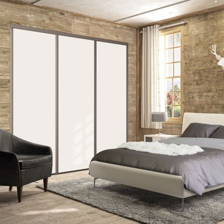 fa ade de placard pivotante 2 portes d cor blanc mat kazed. Black Bedroom Furniture Sets. Home Design Ideas