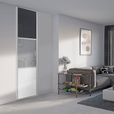fa ade de placard pivotante 1 porte verre laqu gris fonc. Black Bedroom Furniture Sets. Home Design Ideas