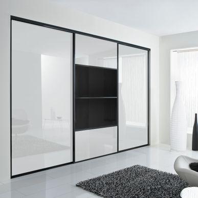 façade de placard coulissante 3 portes verre laqué blanc pur, verre