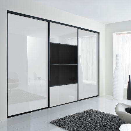 Fa ade de placard coulissante 3 portes verre laqu noir verre laqu blanc pur kazed - Porte coulissante placard 3 vantaux ...