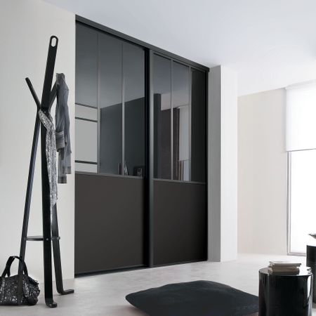 fa ade de placard coulissante 2 portes miroir plomb verre. Black Bedroom Furniture Sets. Home Design Ideas