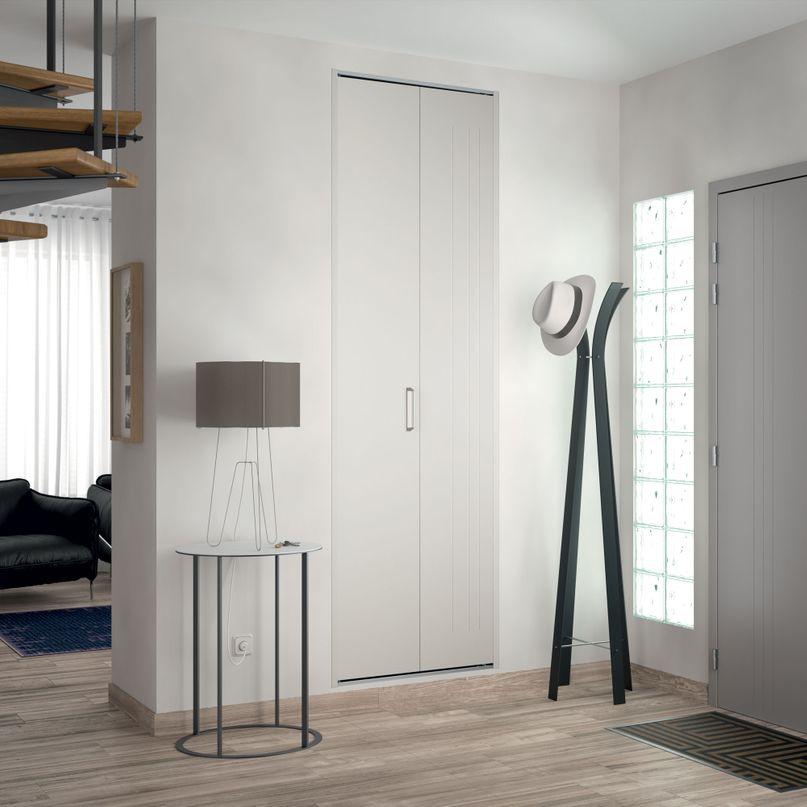 Façade 1 porte pliante métal trio laqué blanc H2050 mm x L620 mm