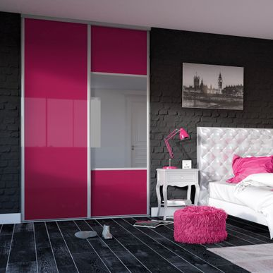 fa ade de placard coulissante 2 portes verre laqu. Black Bedroom Furniture Sets. Home Design Ideas
